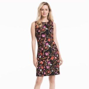 WHBM Black Floral Embroidered Sheath Dress